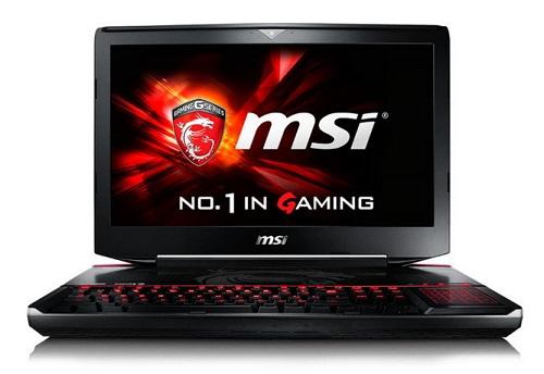 Na zdjęciu laptop gamingowy MSI GT80S 6QE-047PL z procesorem Core i7 6820HK, pamięcią 32GB RAM, dyskiem SSD 256GB + HDD 1TB, kartą graficzną nVIDIA GTX980M.